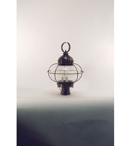 Northeast Lantern 2573G-DB-LT3-CSG Onion 3 Light 22 inch Dark Brass Post Lantern in Clear Seedy Glass, Candelabra