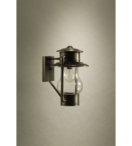 Northeast Lantern 2621-DB-MED-CSG Railroad 1 Light 14 inch Dark Brass Outdoor Wall Lantern in Clear Seedy Glass