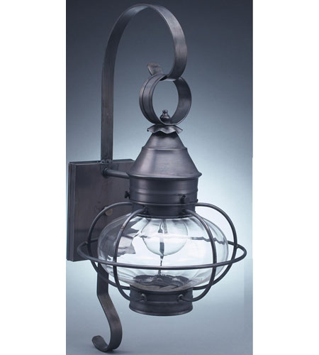 Northeast Lantern  Caged Onion Wall Dark Brass Medium Base Socket Optic Glass Extended Scroll 2521-DB-MED-OPT-EXT