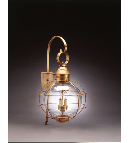 Northeast Lantern 2851-AB-LT3-CLR Onion 3 Light 28 inch Antique Brass Outdoor Wall Lantern in Clear Glass, Candelabra