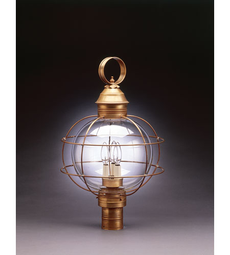 Northeast Lantern 2853-AB-LT3-CLR Onion 3 Light 25 inch Antique Brass Post Lantern in Clear Glass, Candelabra