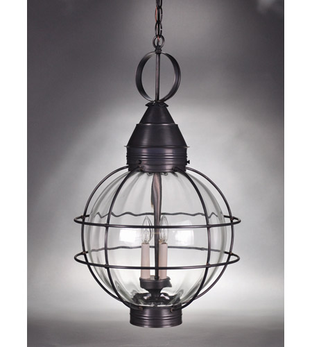 Northeast Lantern 2862-DB-LT3-OPT Onion 3 Light 18 inch Dark Brass Hanging Lantern Ceiling Light in Optic Glass, Candelabra photo