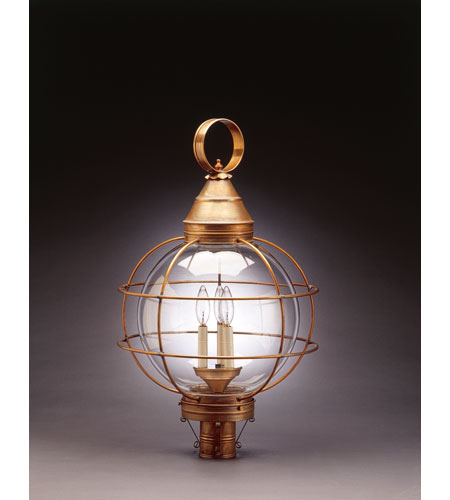 Northeast Lantern 2863-AB-LT3-CLR Onion 3 Light 30 inch Antique Brass Post Lantern in Clear Glass, Candelabra