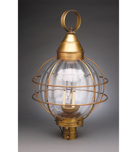 Northeast Lantern 2863-AB-LT3-OPT Onion 3 Light 30 inch Antique Brass Post Lantern in Optic Glass, Candelabra