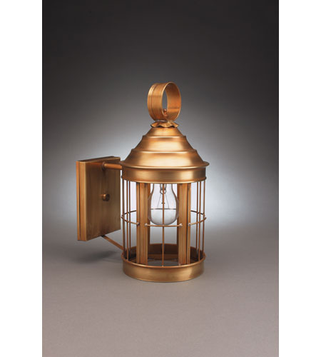 Northeast Lantern 3317-AB-MED-CLR-NS Heal 1 Light 13 inch Antique Brass Outdoor Wall Lantern in Clear Glass, No Scroll photo