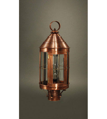 Northeast Lantern 3333-AC-CIM-CLR Heal 1 Light 21 inch Antique Copper Post Lantern in Clear Glass, Chimney, Medium photo