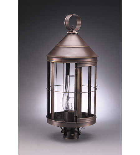 Northeast Lantern 3353-DAB-CIM-CLR Heal 1 Light 25 inch Dark Antique Brass Post Lantern in Clear Glass, Chimney, Medium photo