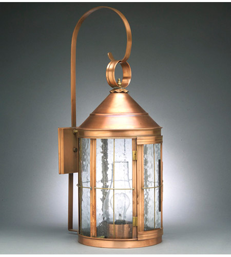 Northeast Lantern 3357-AC-CIM-CSG Heal 1 Light 27 inch Antique Copper Outdoor Wall Lantern in Clear Seedy Glass, Chimney, Medium photo