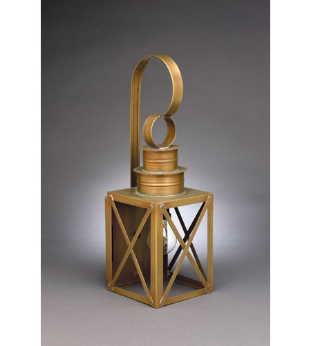 Northeast Lantern 5031-AB-MED-CLR Suffolk 1 Light 18 inch Antique Brass Outdoor Wall Lantern in Clear Glass, Medium photo