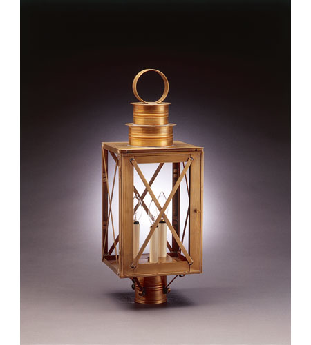 Northeast Lantern Suffolk 3 Light Post in Antique Brass 5053-AB-LT3-CLR photo