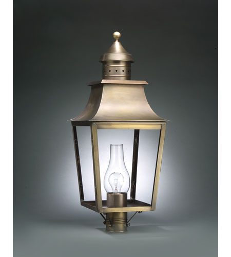Northeast Lantern 5553-DAB-CIM-CLR Sharon 1 Light 28 inch Dark Antique Brass Post Lantern in Clear Glass, Chimney, Medium photo