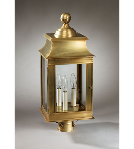 Northeast Lantern 5633-AB-LT3-CLR Concord 3 Light 23 inch Antique Brass Post Lantern in Clear Glass, No Chimney, Candelabra photo
