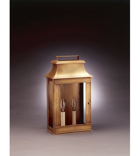 Northeast Lantern Concord 2 Light Outdoor Wall Lantern in Antique Brass 5721-AB-LT2-CLR photo