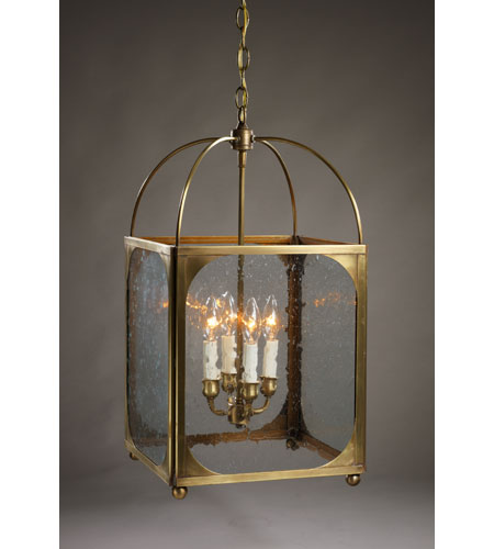 Northeast Lantern 6832R-AB-LT4-CSG Signature 4 Light 13 inch Antique Brass Chandelier Ceiling Light in Clear Seedy Glass photo