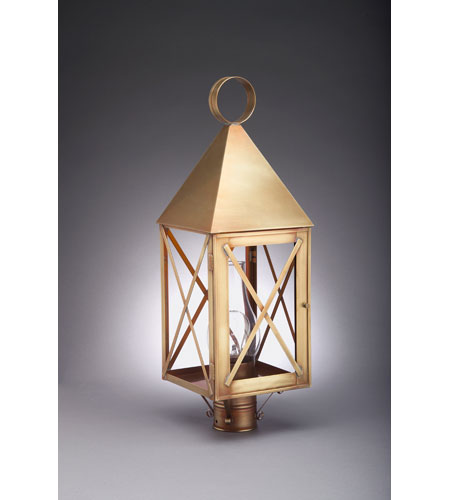 Northeast Lantern 7053-AB-CIM-CLR York 1 Light 25 inch Antique Brass Post Lantern in Clear Glass, Chimney, Medium photo