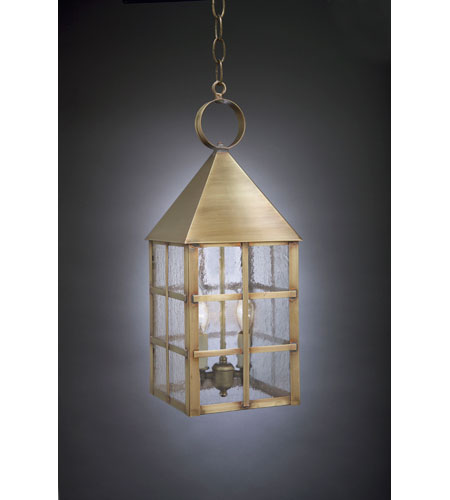 Northeast Lantern 7142-AB-LT2-SMG York 2 Light 7 inch Antique Brass Hanging Lantern Ceiling Light in Seedy Marine Glass, Candelabra photo