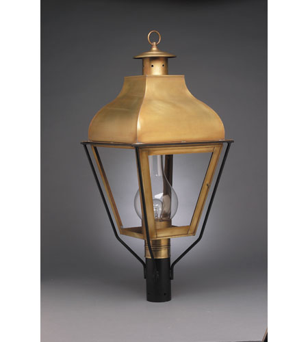 Northeast Lantern 7653-AB-CIM-CLR Stanfield 1 Light 32 inch Antique Brass Post Lantern in Clear Glass, Chimney, Medium photo