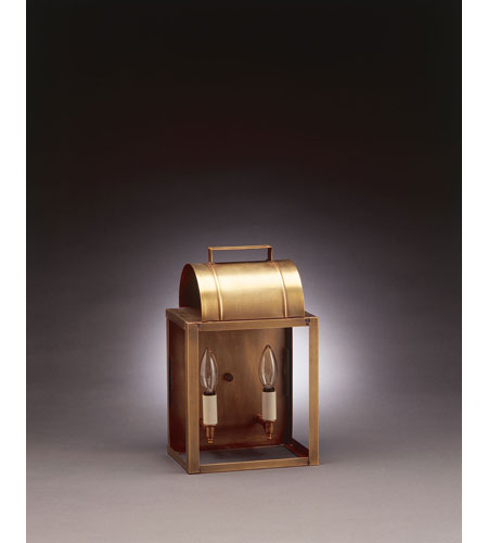 Northeast Lantern Livery 2 Light Outdoor Wall Lantern in Antique Brass 8021-AB-LT2-CLR photo