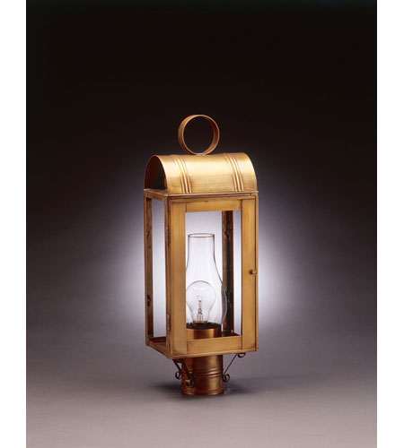 Northeast Lantern 8043-AB-CIM-CLR Livery 1 Light 21 inch Antique Brass Post Lantern in Clear Glass, Chimney, Medium photo