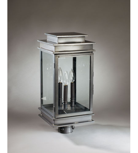 Northeast Lantern 8933-DB-LT3-CLR Empire 3 Light 22 inch Dark Brass Post Lantern in Clear Glass photo