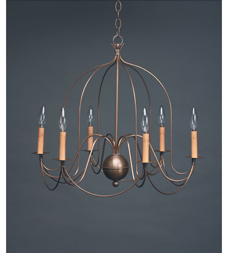 Northeast Lantern Signature 6 Light Chandelier in Antique Brass 940-AB-LT6 photo