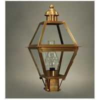 Boston 1 Light 20 inch Antique Brass Post Lantern in Clear Glass, Chimney, Medium