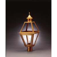 Boston 1 Light 27 inch Antique Brass Post Lantern in Clear Glass, Chimney, Medium