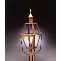 Boston 1 Light 38 inch Antique Brass Post Lantern in Clear Glass, Chimney, Medium