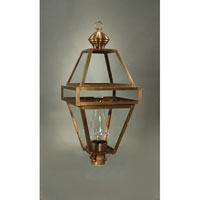 Boston 1 Light 32 inch Antique Brass Post Lantern in Clear Glass, Chimney, Medium