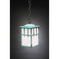 Northeast Lantern Lodge 1 Light Hanging Lantern in Verdi Gris 1522-VG-MED-WHT