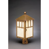 Northeast Lantern 1733-AB-MED-CRML Lodge 1 Light 16 inch Antique Brass Post Lantern in Caramel Glass photo thumbnail