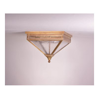 Elryan 2 Light 13 inch Antique Brass Flush Mount Ceiling Light in Seedy Marine Glass