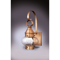 Northeast Lantern 2021-AB-MED-OPT Onion 1 Light 16 inch Antique Brass Outdoor Wall Lantern in Optic Glass