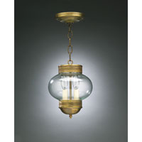 Onion 2 Light 8 inch Antique Brass Hanging Lantern Ceiling Light in Clear Glass
