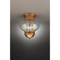 Onion 2 Light 8 inch Antique Brass Flush Mount Ceiling Light in Clear Glass