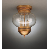Onion 2 Light 8 inch Dark Antique Brass Flush Mount Ceiling Light in Clear Glass