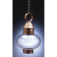 Northeast Lantern Onion 1 Light Hanging Lantern in Antique Brass 2042-AB-MED-CLR