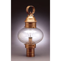 Northeast Lantern Onion 1 Light Post in Antique Brass 2043-AB-MED-CLR