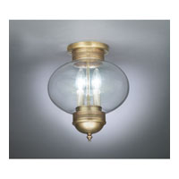 Onion 2 Light 10 inch Antique Brass Flush Mount Ceiling Light in Clear Glass