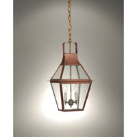 Uxbridge 2 Light 8 inch Antique Copper Hanging Lantern Ceiling Light in Seedy Marine Glass