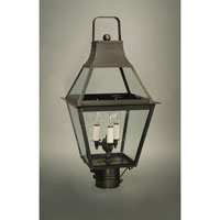 Uxbridge 3 Light 23 inch Dark Brass Post Lantern in Clear Glass, No Chimney, Candelabra