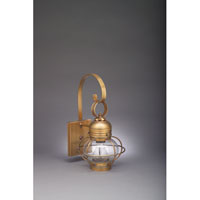 Onion 1 Light 16 inch Antique Brass Outdoor Wall Lantern in Clear Glass