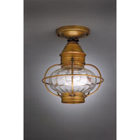 Onion 1 Light 9 inch Antique Brass Flush Mount Ceiling Light in Optic Glass