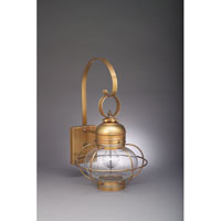 Northeast Lantern Onion 1 Light Outdoor Wall Lantern in Antique Brass 2531G-AB-MED-CLR