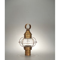 Northeast Lantern 2533-AB-MED-CLR Onion 1 Light 19 inch Antique Brass Post Lantern in Clear Glass thumb