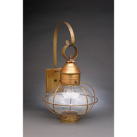 Northeast Lantern Onion 1 Light Outdoor Wall Lantern in Antique Brass 2541-AB-MED-CLR