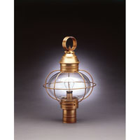 Northeast Lantern 2543-AB-MED-CLR Onion 1 Light 20 inch Antique Brass Post Lantern in Clear Glass, Medium thumb
