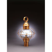 Northeast Lantern 2543-AB-MED-OPT Onion 1 Light 20 inch Antique Brass Post Lantern in Optic Glass, Medium thumb