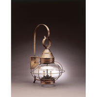 Onion 2 Light 25 inch Dark Antique Brass Outdoor Wall Lantern in Clear Glass, Candelabra