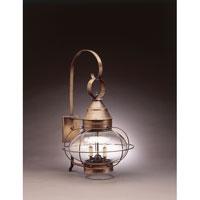 Northeast Lantern 2571-DAB-LT2-CLR Onion 2 Light 25 inch Dark Antique Brass Outdoor Wall Lantern in Clear Glass, Candelabra
